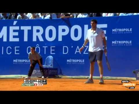 Ernests Gulbis wins a game with 4 drop shots in a row. ATP Nice final.