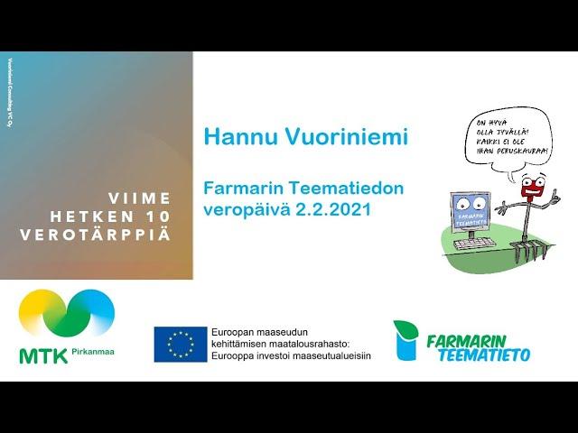 Hannu Vuoriniemen 10 verotärppiä vuoden 2021 maatalousverotukseen