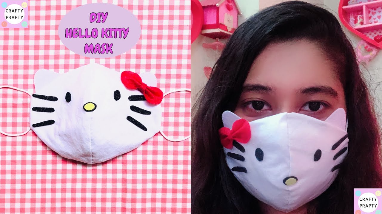 Diy Face Mask From T Shirt Best Protective Face Mask Diy Hello Kitty Face Mask Youtube