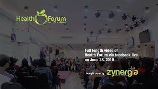 28 June 2019   Health Forum via Facebook Live