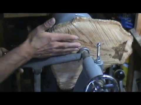 """Turning a 14"""" platter from dry oak slab on a 12"""" lathe"""