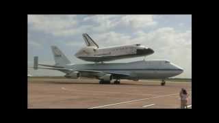 Endeavour Lands in Houston for Stopover   NASA KSC SCA Space Science Center Shuttle Video