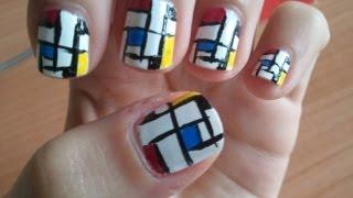 Mondrian Nail Art - Composizione con rosso, giallo e blu