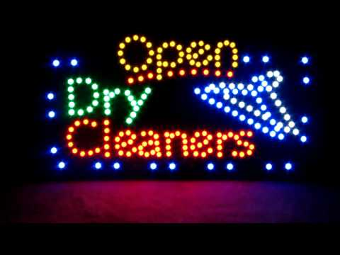 "OPEN LED SIGN LAUNDRY COIN-OP DRY CLEANERS 23""x 13"" WASH DRY FOLD COIN"
