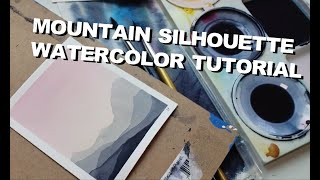 1 Brush Easy Watercolor Tutorial - Mountain Silhouette