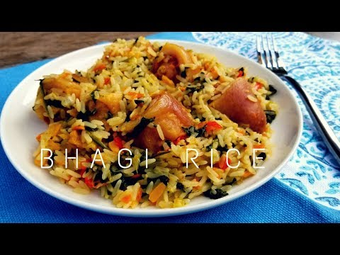 Trini Bhagi Rice Recipe / Spinach Rice With Salted Pigtails In Coconut Milk - Episode 177