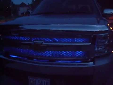 Lifted Gmc Sierra >> Pimped out Chevy Silverado: Blue Leds, Ghost Projector Shadow light, Chromed, Ps2, etc. - YouTube