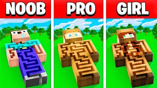 NOOB vs PRO vs GIRL IMPOSSIBLE MINECRAFT MAZE HOUSE BUILD BATTLE! (BUILDING CHALLENGE)