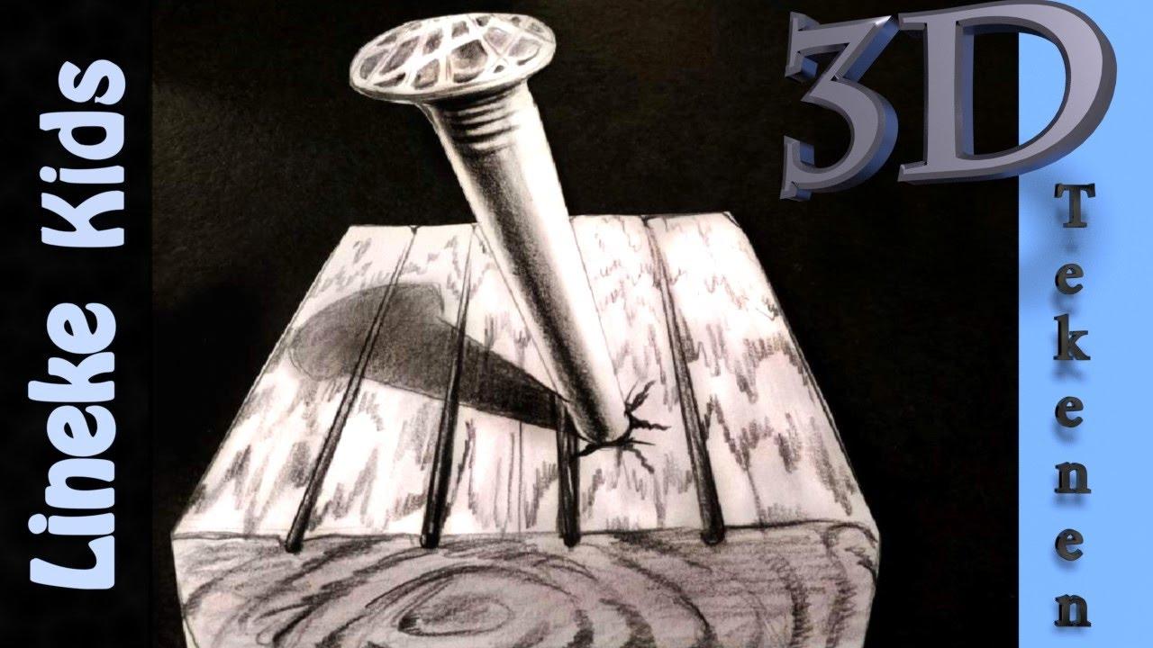 3d tekening spijker in papier makkelijk voor beginners for Tekenen 3d