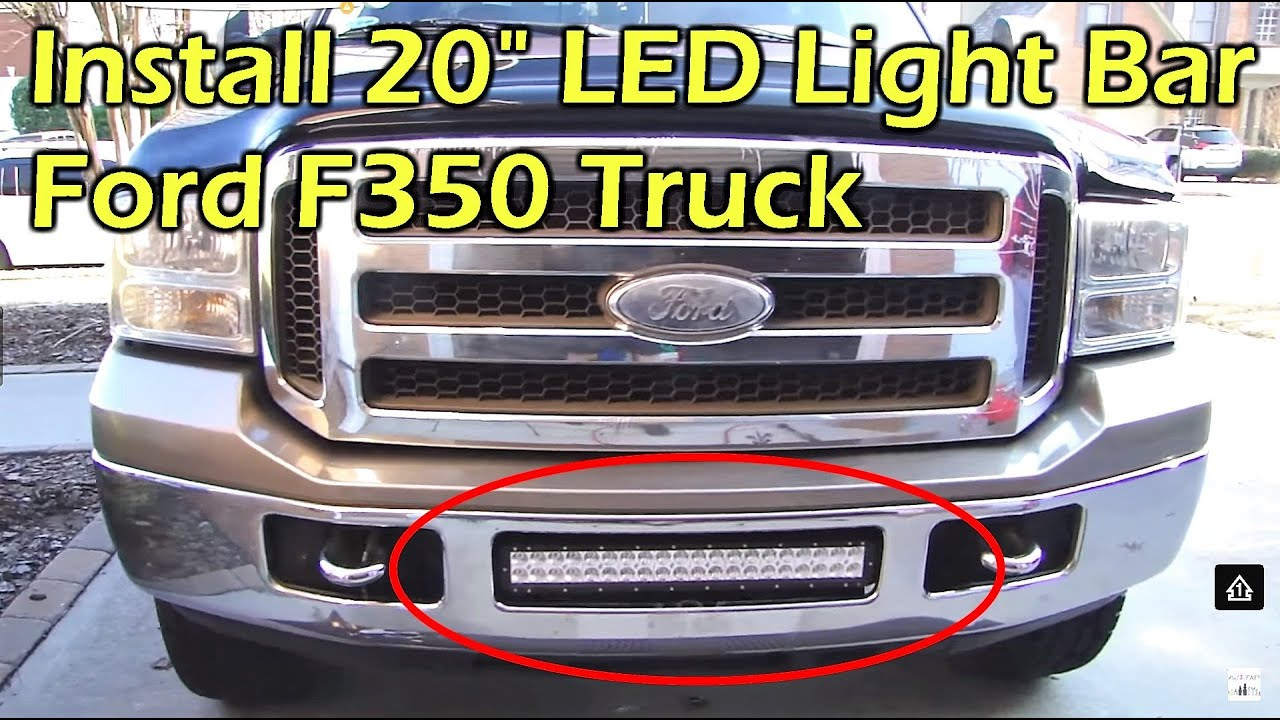 install 20 120w dual row led light bar on ford f350 [ 1280 x 720 Pixel ]