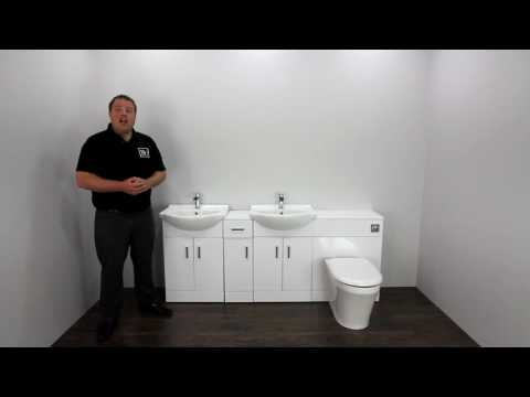 High Gloss White Double Basin Vanity Unit Suite & Bathroom Furniture
