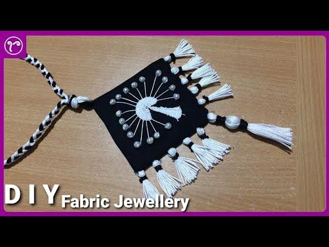 DIY Beautiful Fabric Jewellery Making with Embroidery | Handmade Jewellery Making