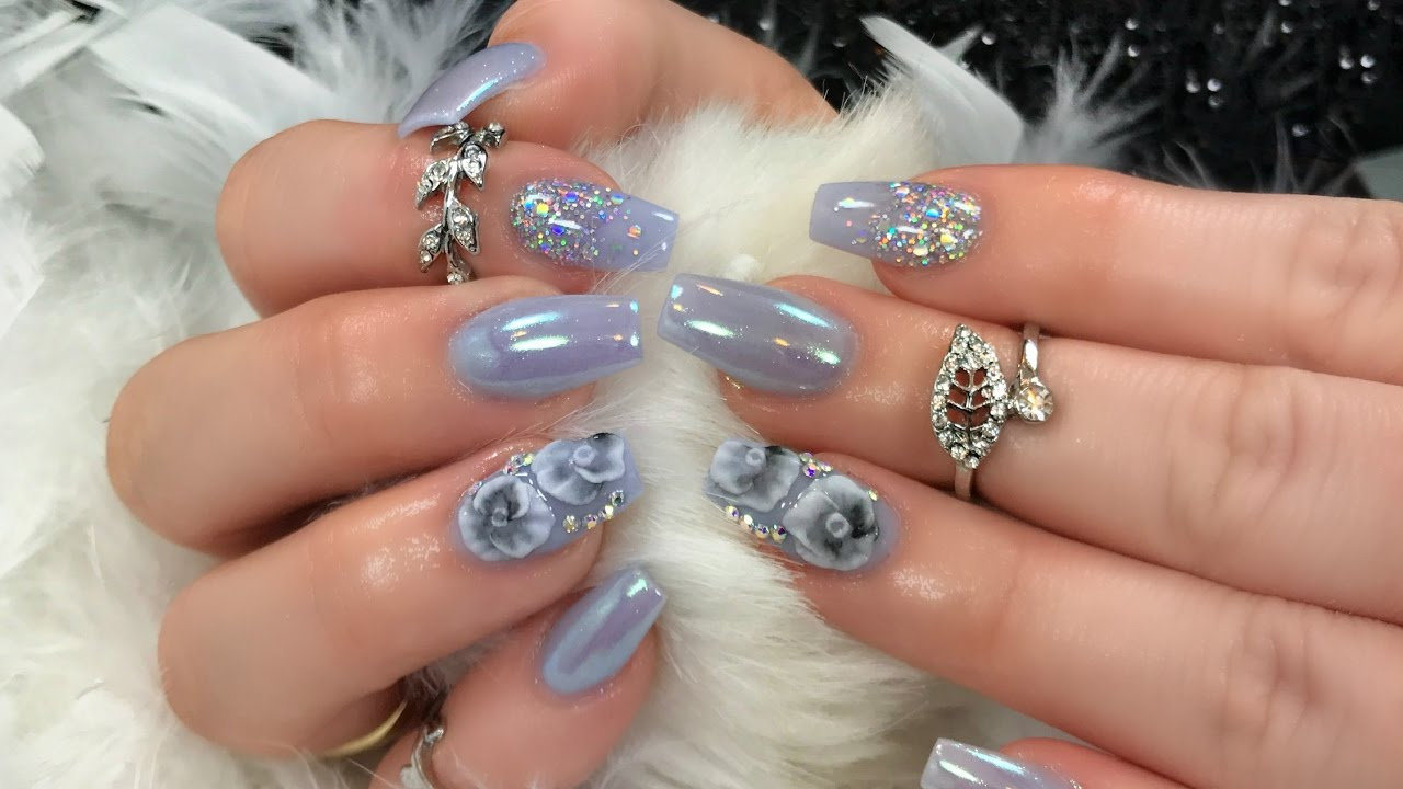 Unicorn/Opal Chrome Nails + 3D Art - YouTube