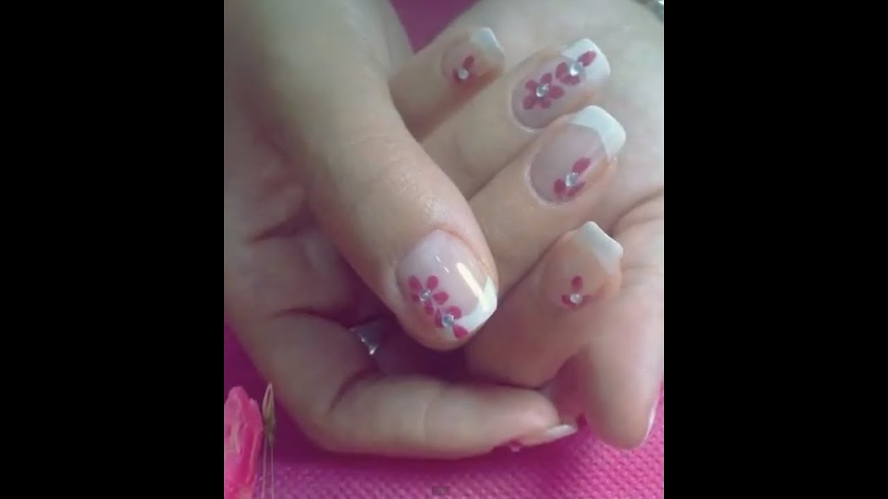 EASY FRENCH NAIL ART TUTORIAL WITH PINK FLOWER = DISEÑO FÁCIL DE ...