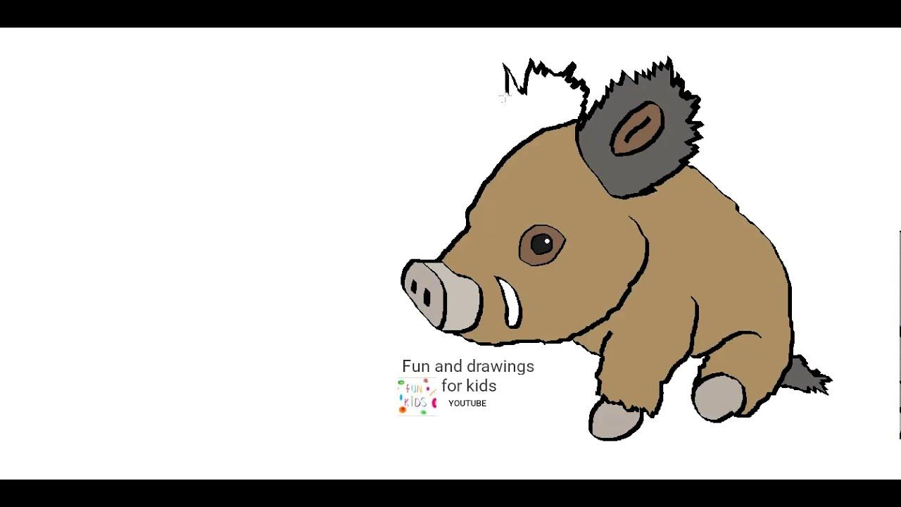 Cómo Dibujar Un Jabalí Para Niños Youtube