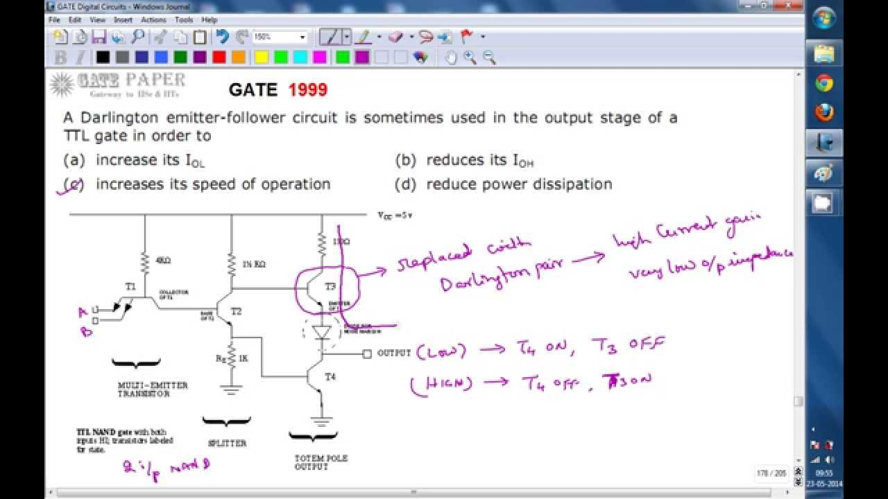 Gate 1999 Ece Why Darlington Emitter Follower Circuit Is Used In The Transistor Amplifier Related Keywords Suggestions Output Stage Of Ttl