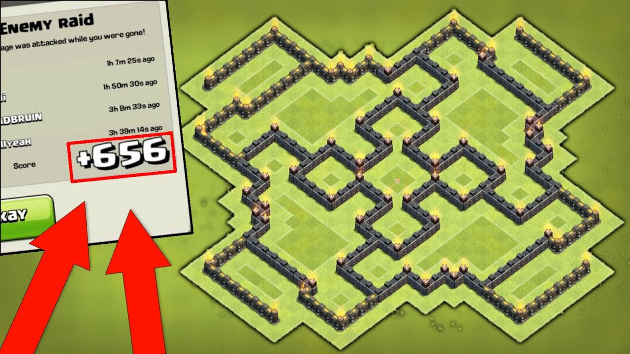 """NEW """"INSANE"""" TOWN HALL 9 TROPHY PUSHING BASE DESIGN (COC"""