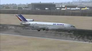 FSX Captain Sim 727-200 Air France Landing at Nice