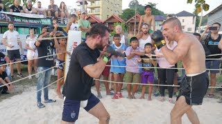 Drunk BOXER vs France SAVATE, MMA on Phuket !!
