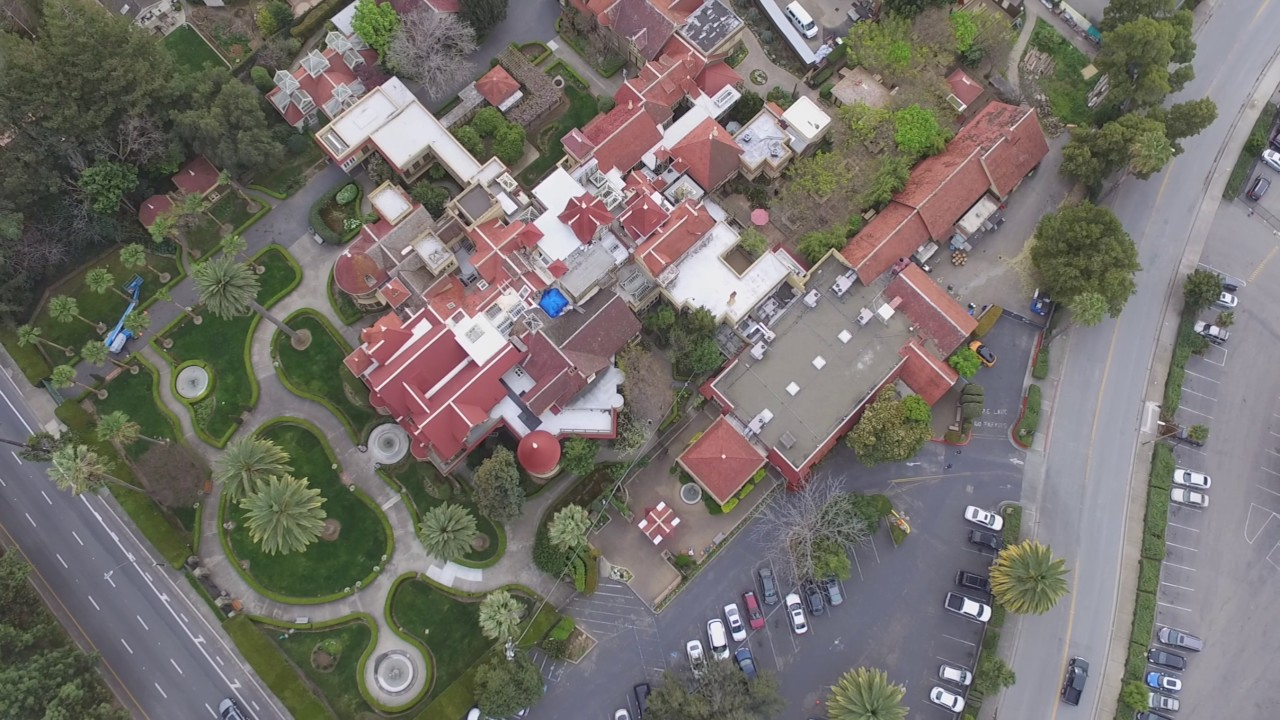 winchester mystery house aerial circle with dji phantom 3 standard