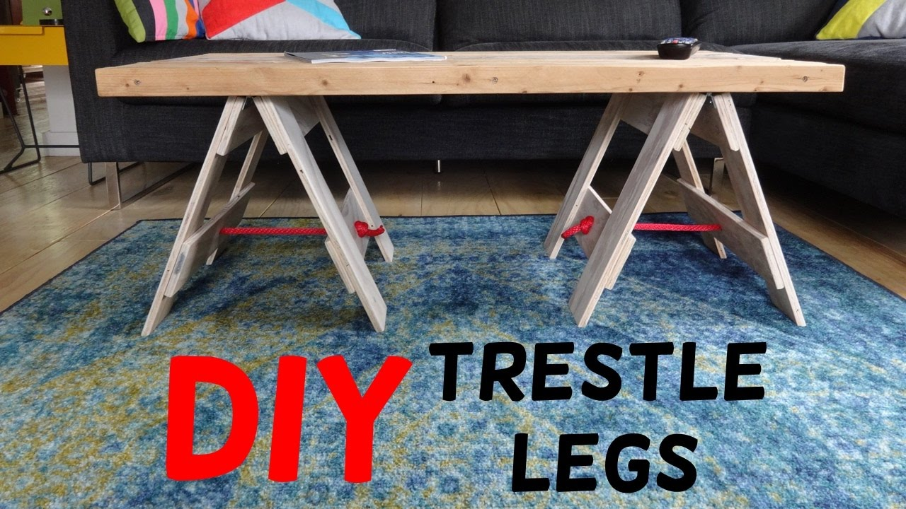 Simple Industrial Trestle Leg Table Build!   YouTube