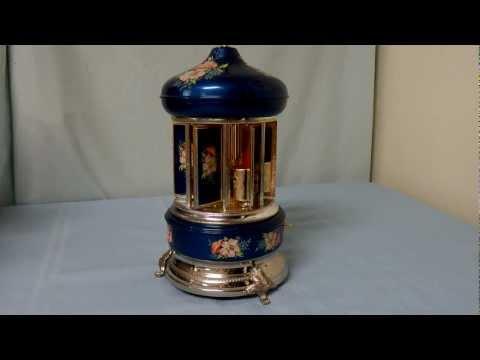 Sima Italian Hand decorated Toleware cigarette carousel Music Box