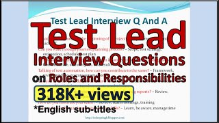 TEST LEAD Interview Questions ( roles and responsibilities )