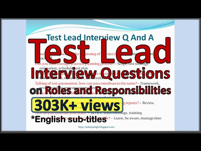 Test Lead Interview Questions and Answers - YouTube