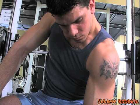 Hot Gay Muscle Jock Shirtless Gym Workout - Bench Press + Biceps