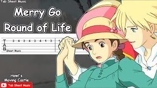 Howl's Moving Castle - Merry Go Round Of Life Guitar Tutorial | TAB