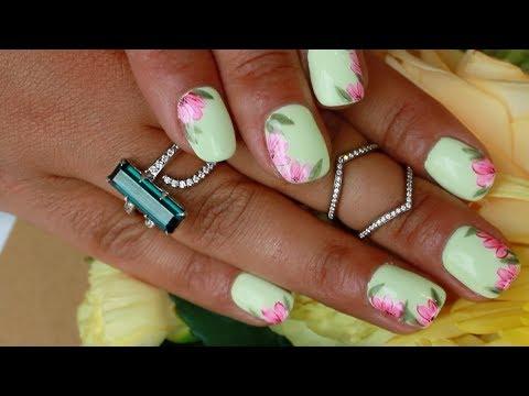 Bridal Nail Art Yellow Floral Nails By Akiko Nyc Youtube
