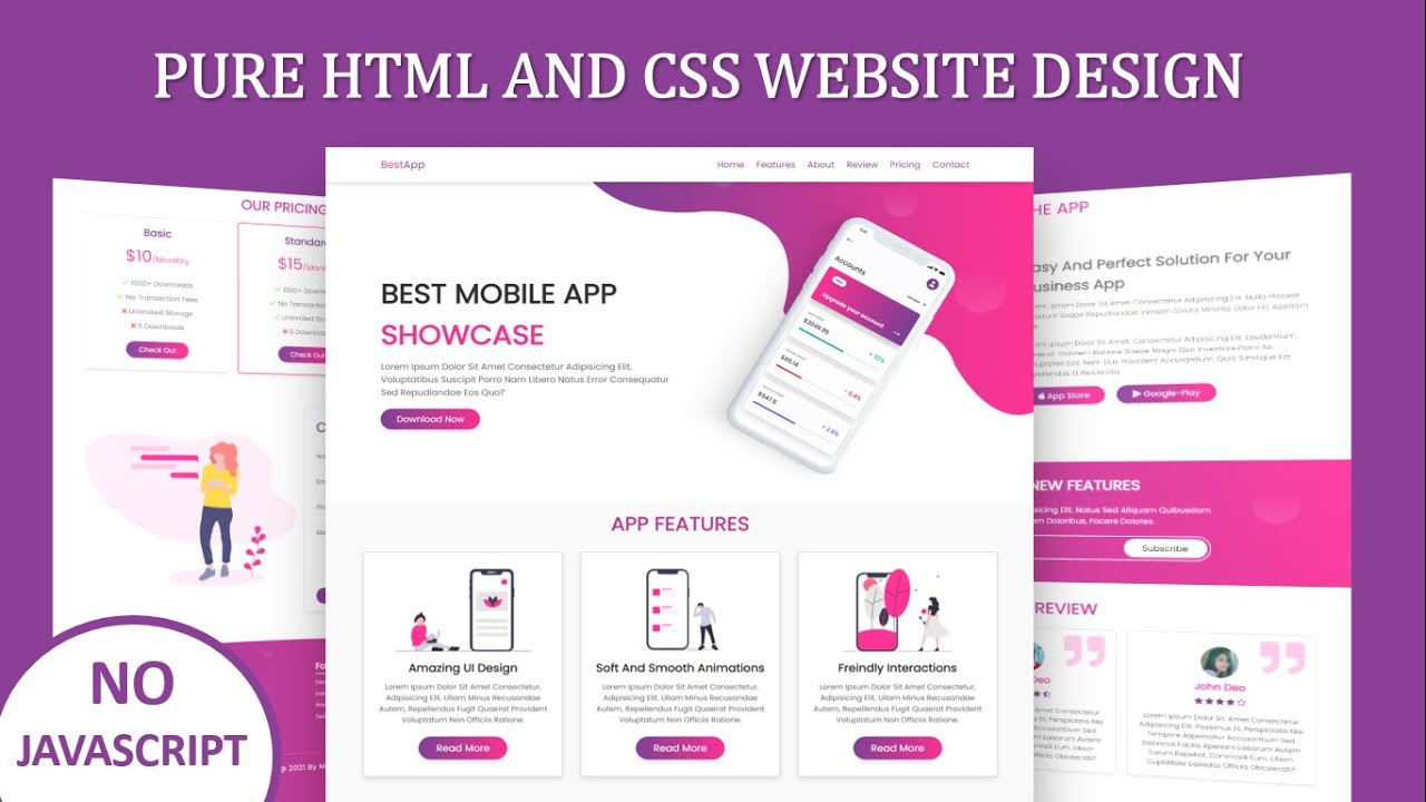 How To Make Responsive App Landing Page Website Design Using Pure HTML And CSS Only | Step By Step