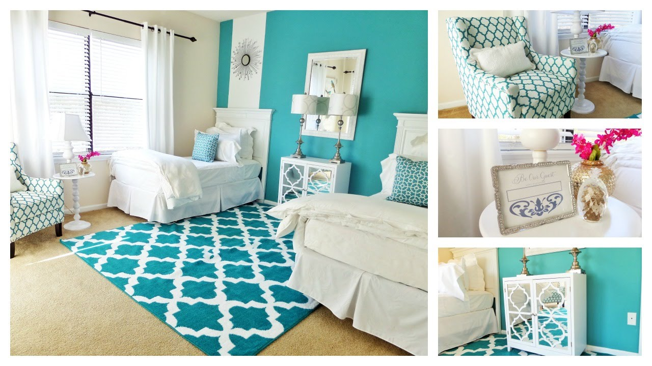 Guest bedroom tour one room two beds youtube for Room design 2 twin beds