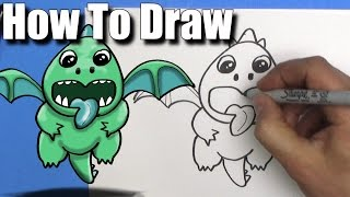 How To Draw a Baby Dragon from Clash Royale  - Step By Step - Kawaii