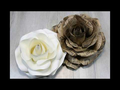 Large paper flowers. Flowers on the wall. Paper craft. DIY paper rose. Free template. 5 minute craft