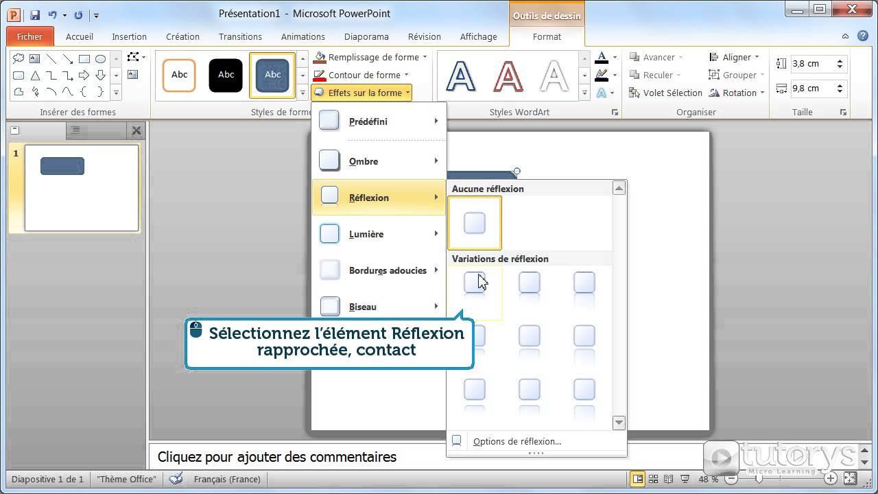comment ajouter des effets sur une forme avec powerpoint 2010