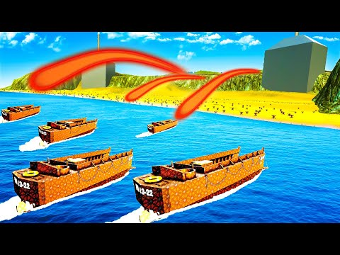 Intense D-DAY BEACH DEFENSE from Invading Boats in FORTS!  