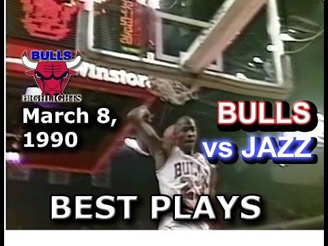 March 08 1990 Bulls vs Jazz highlights