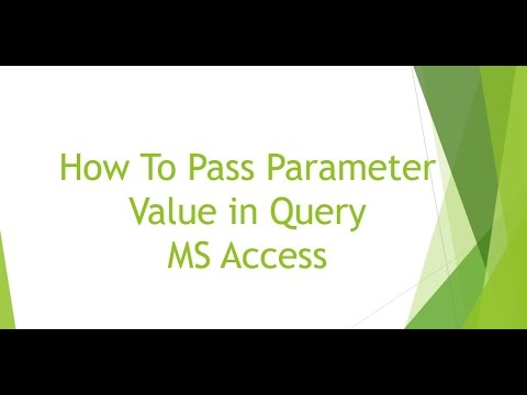How To Pass Parameter Value in MS Access Query
