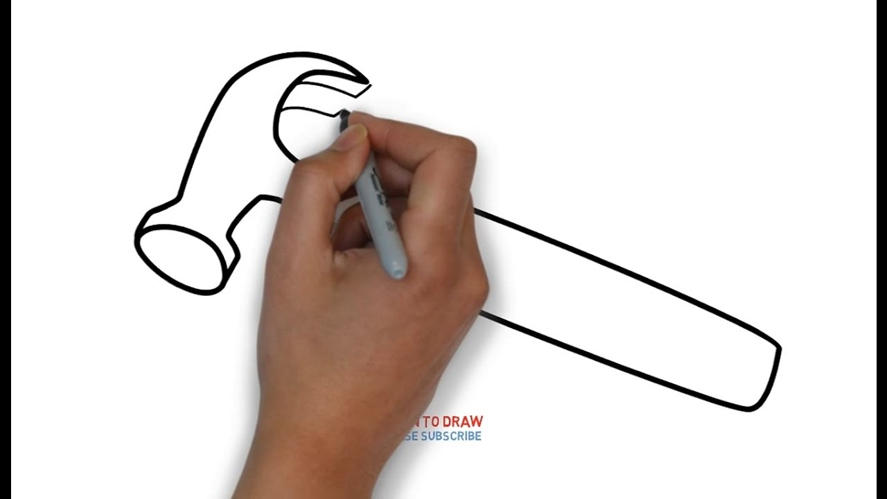 How To Draw A Hammer For Kids Step By Step Youtube