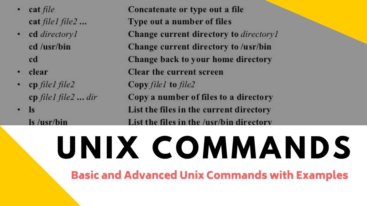 Unix Commands: Basic and Advanced Unix Commands with Examples
