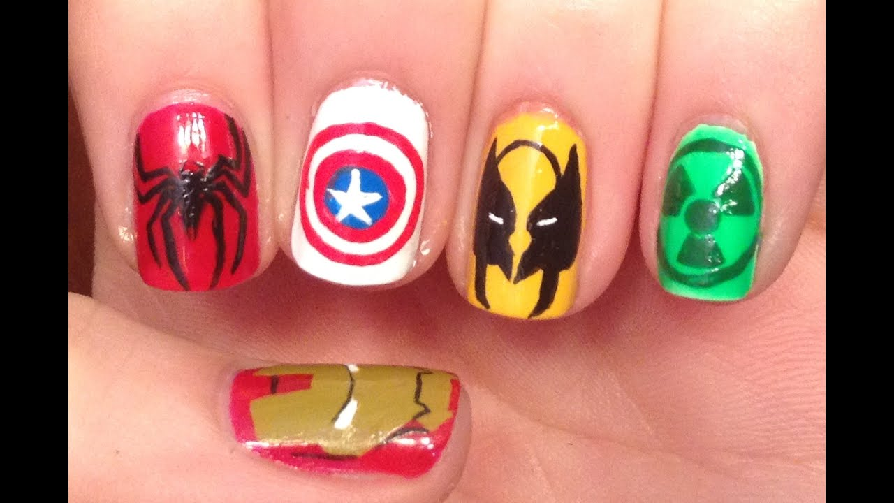 Marvel nail art tutorial request youtube prinsesfo Gallery