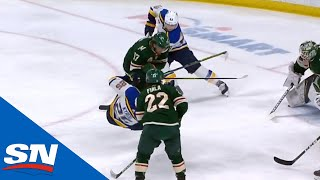Marcus Foligno Lands Big Hit On Jordan Kyrou, Fights Robert Bortuzzo Right After