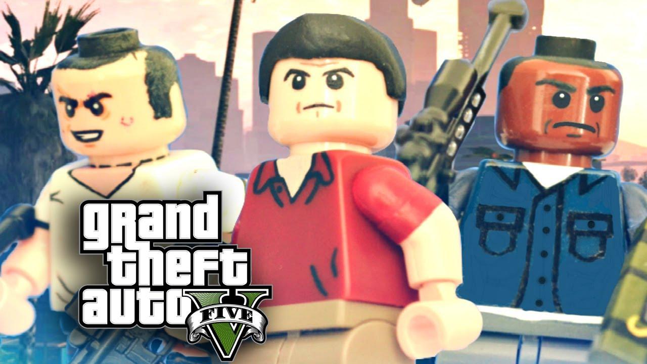 Lego Grand Theft Auto V Michael Trevor And Franklin Showcase Youtube