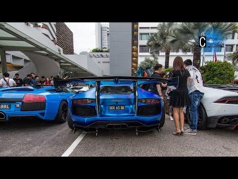Over 40 Lamborghini Gathering Arrival In Singapore Mandarin Oriental Hotel - CNY 2017