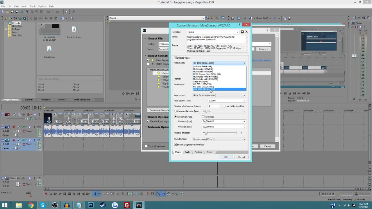 How To Render Sony Vegas Pro 13 | Custom Render Settings