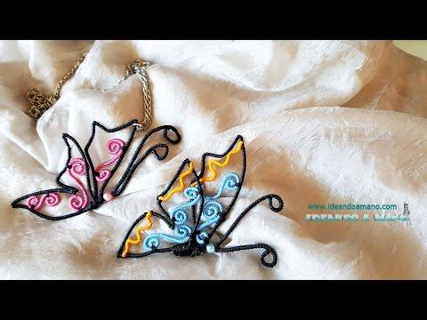 Collar y broche con mariposa de alambre e hilo