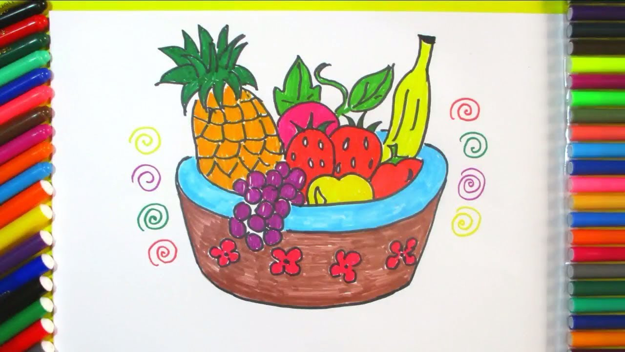 how to draw a basket of fruit easy step by step