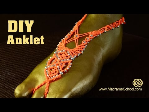 Macrame Barefoot Sandal Anklet With Beads Diy Tutorial