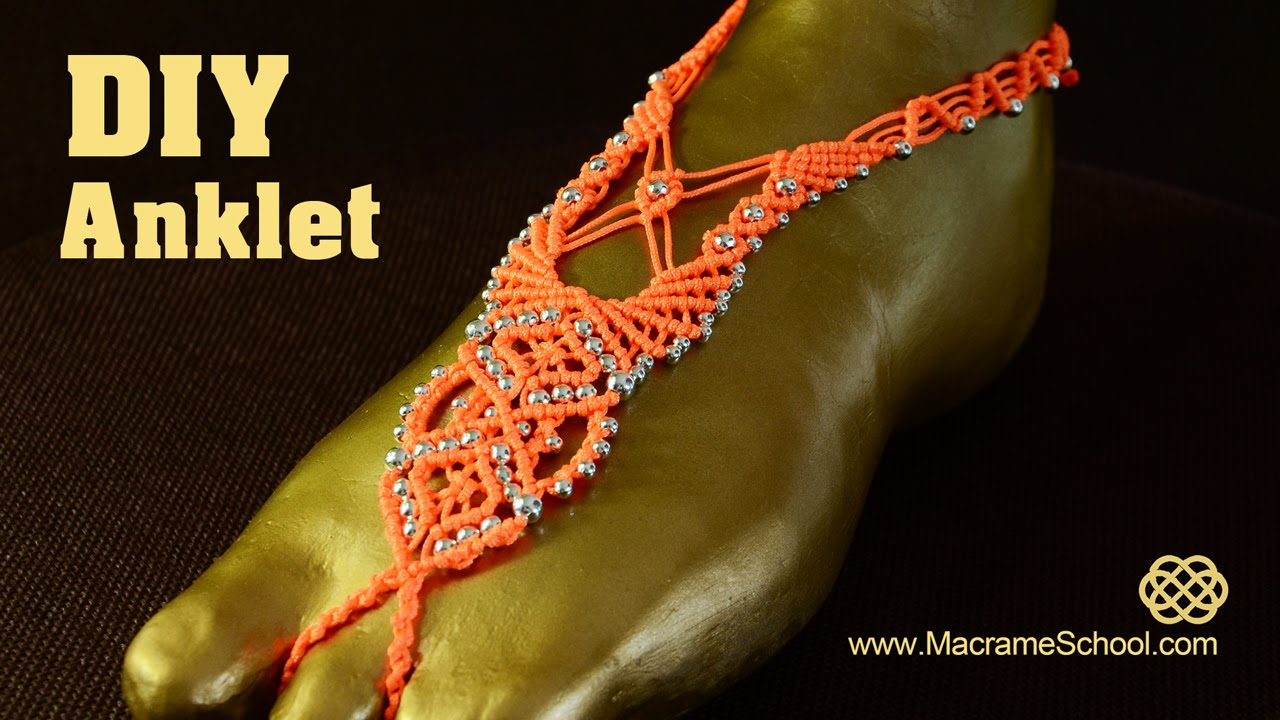 Macram 233 Barefoot Sandal Anklet With Beads Diy Tutorial
